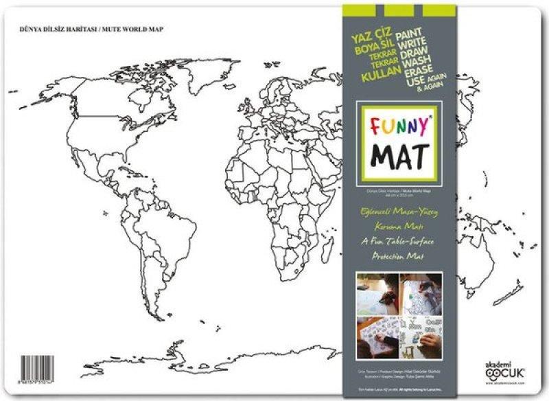 Eğlenceli Silinebilir Mat - Dünya Dilsiz Haritası