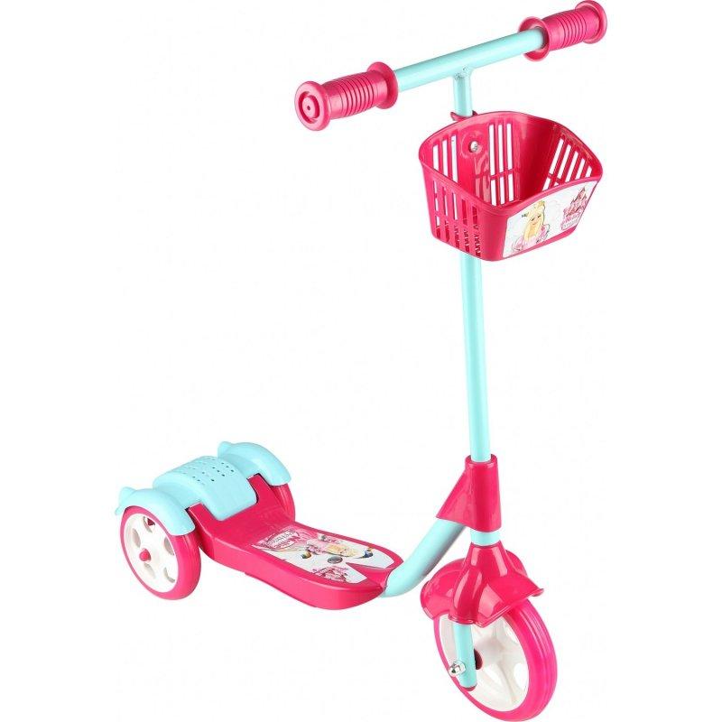 Scooter - Oyuncak Sepetli Frenli 3 Tekerlekli - Pembe