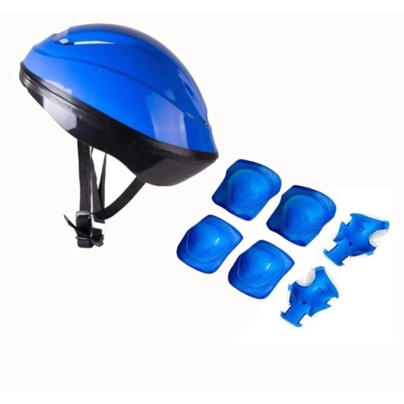Kask Dizlik Dirseklik Koruyucu Set - Mavi