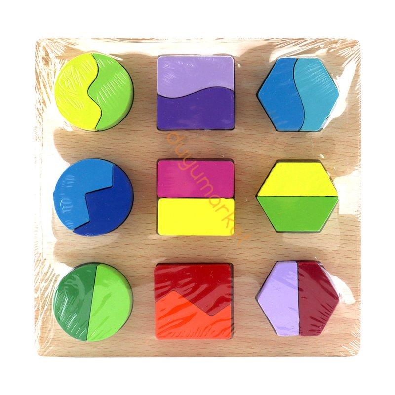 Ahşap Geometrik Şekil Eşleştirme Oyunu