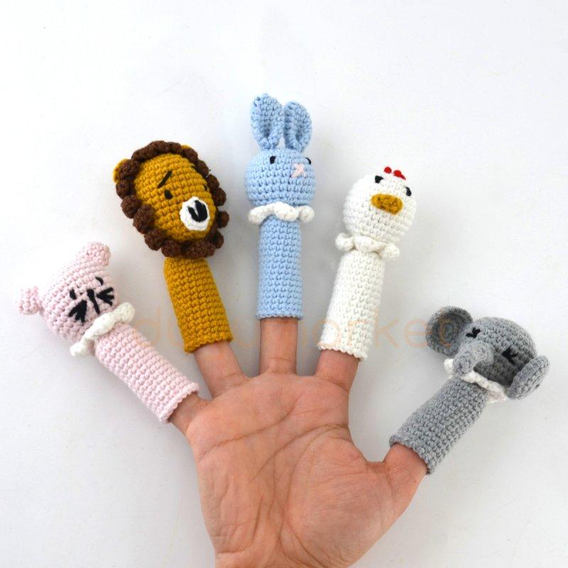 Amigurumi Hayvanlar Parmak Kukla 5'li