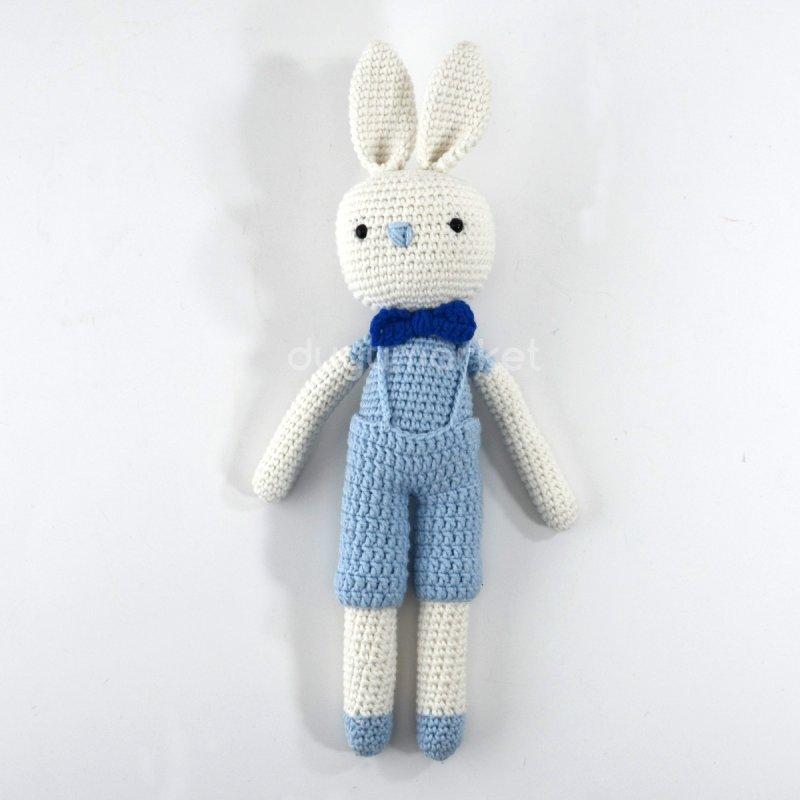 Amigurumi Mavi Tulumlu Sevimli Tavşan ( 29 Cm )