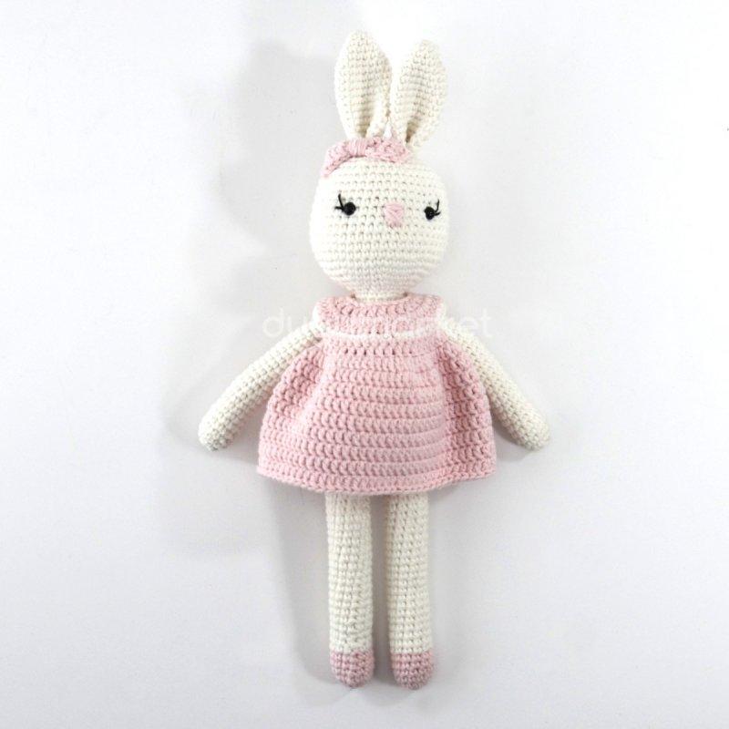 Amigurumi Pembe Elbiseli Şirin Tavşan ( 29 Cm )