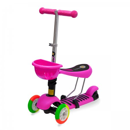 3in1 Oturmalı Scooter - Pembe