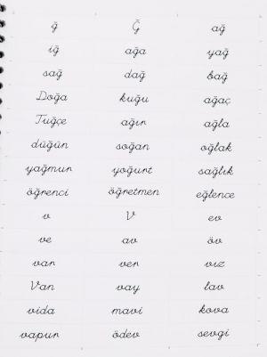 Eğik El Yazısı Harf Hece Kelime Okuma Tombalası Kitabı