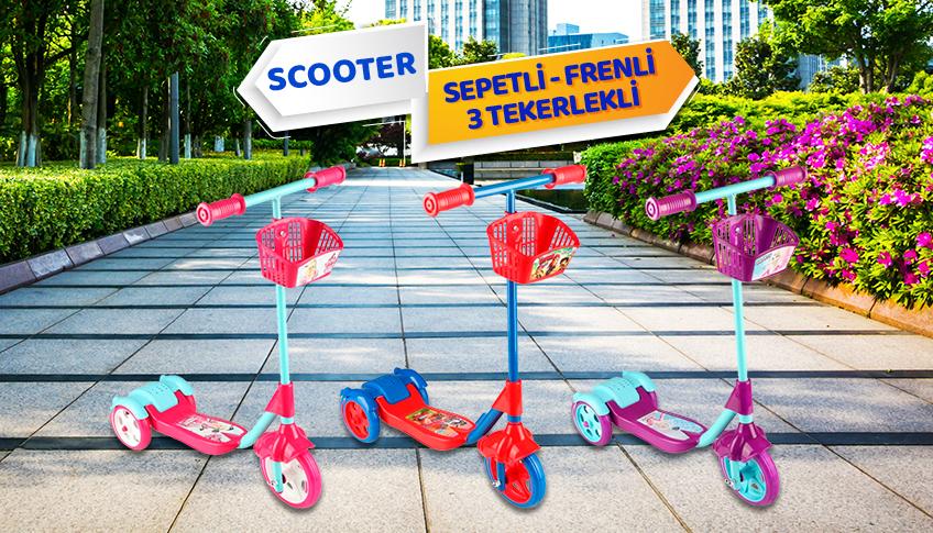 scooter sepetli frenli 3 tekerlekli